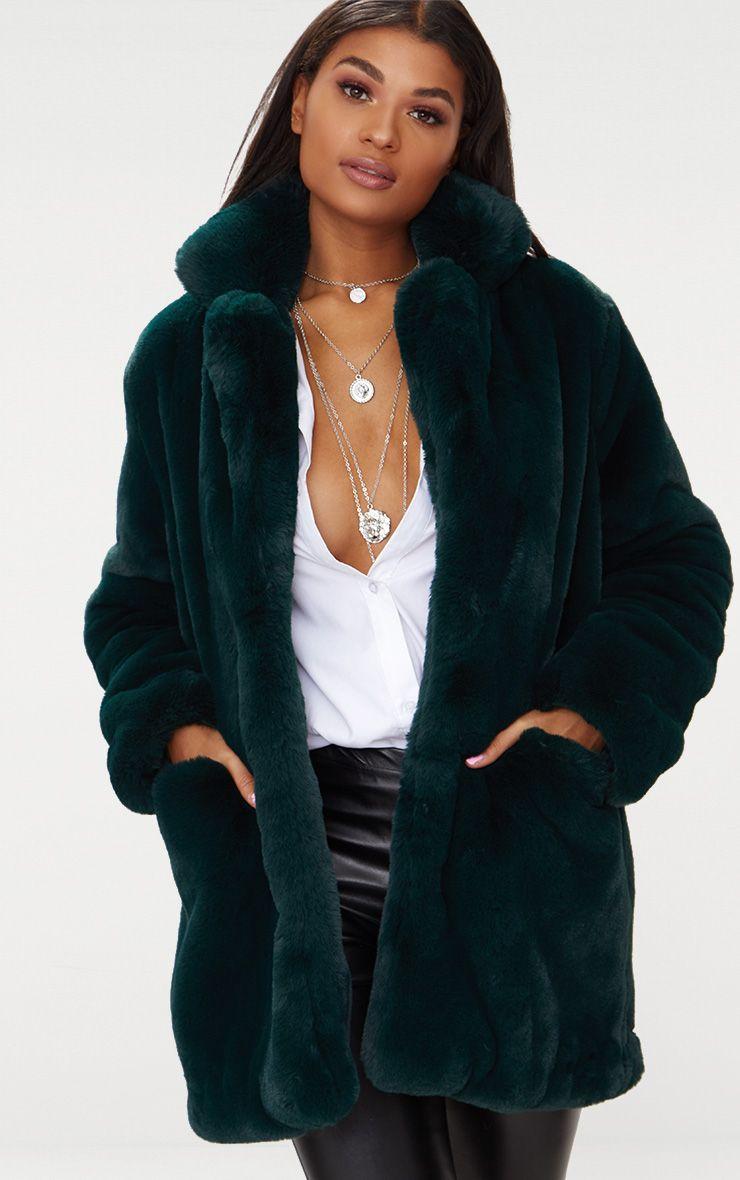 Emerald Green Premium Faux Fur Coat