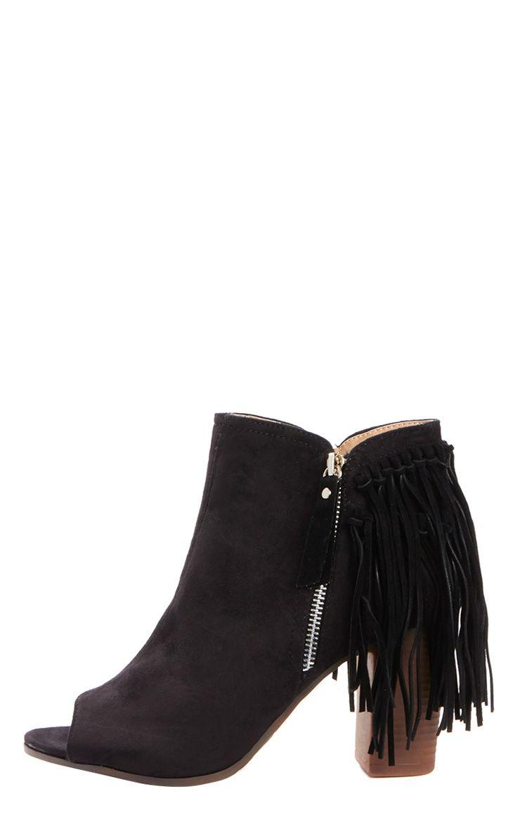 Cameron Black Suede Fringe Heeled Boots  1