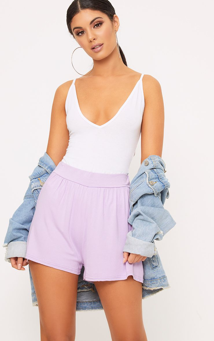 Lilac Jersey Floaty Shorts