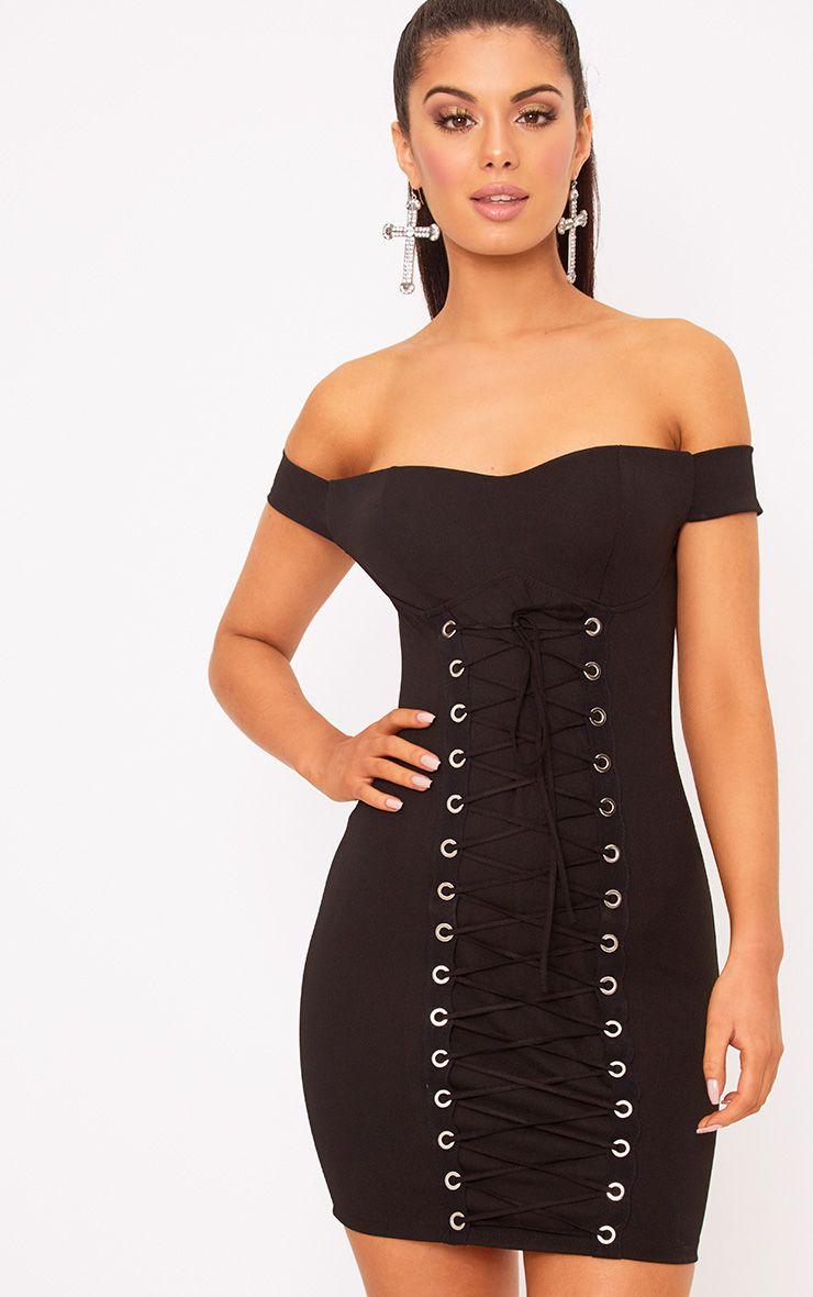Black Eyelet Lace Up Bardot Bodycon Dress