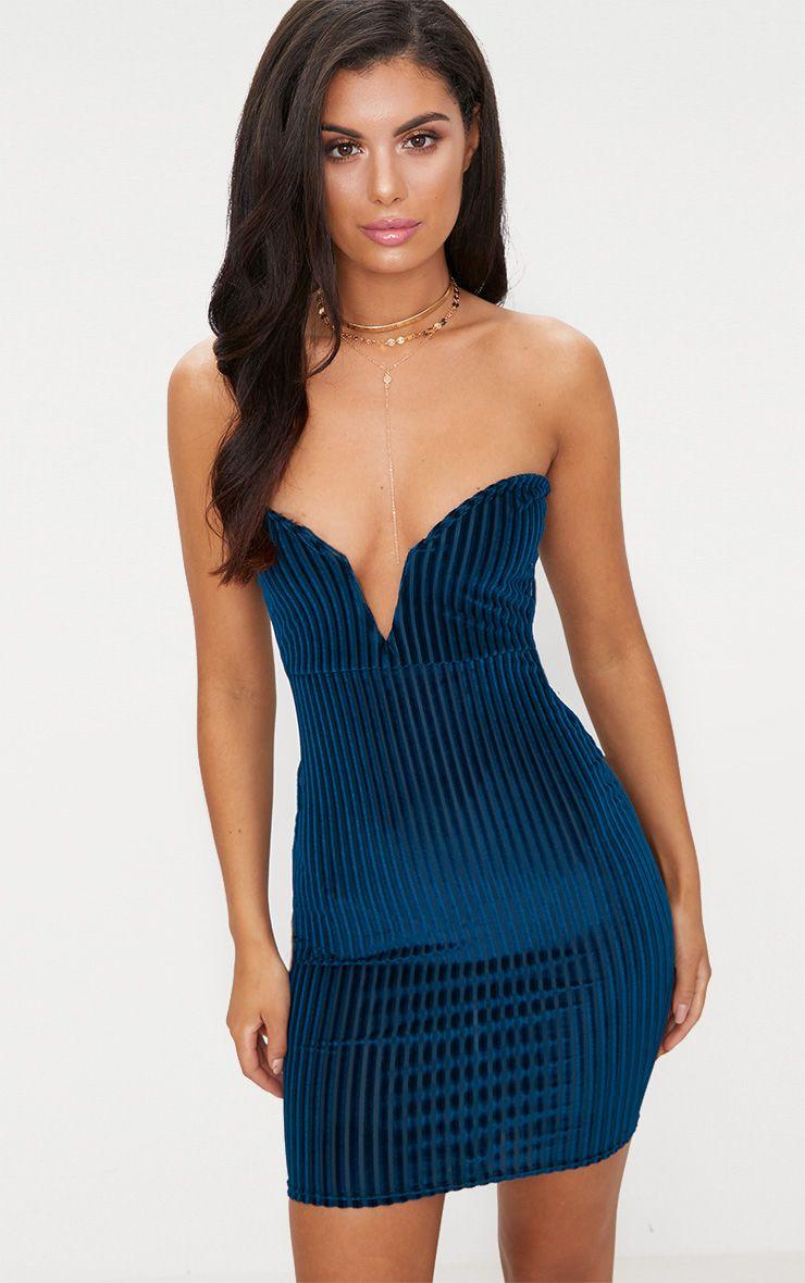 Teal Velvet Stripe Bandeau V Plunge Bodycon Dress