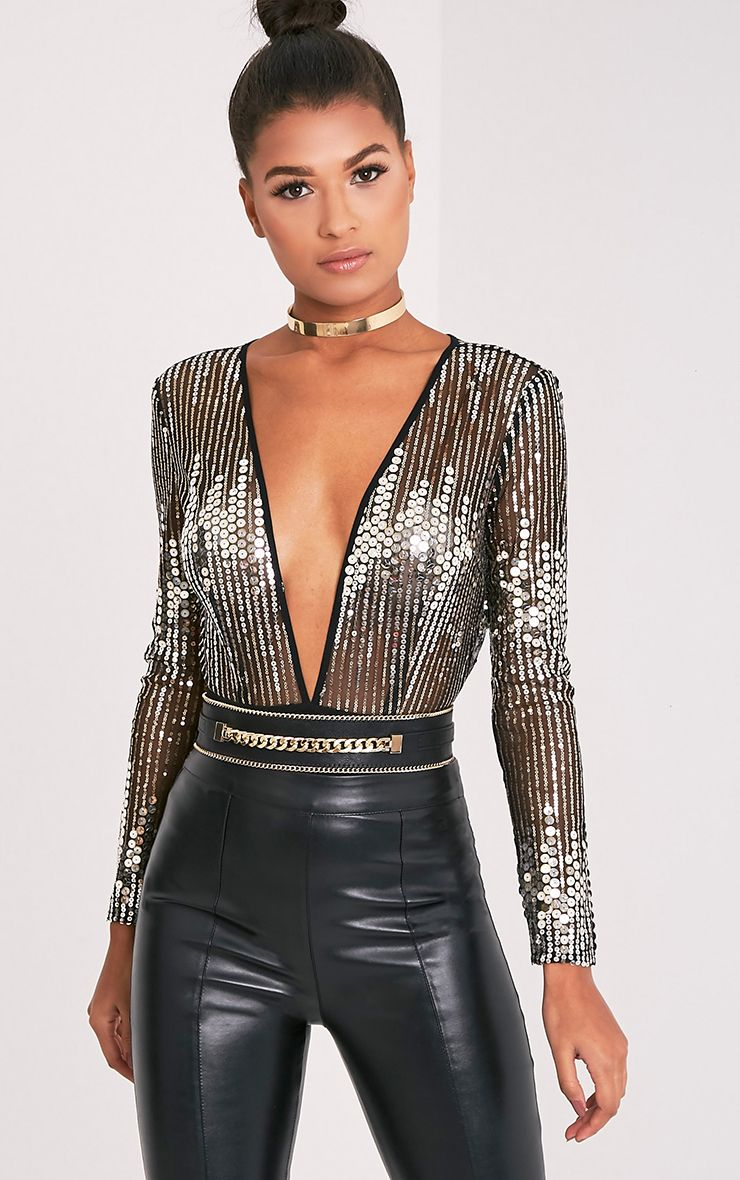 Jennilyn Gold Sequin Plunge Long Sleeve Thong Bodysuit 1