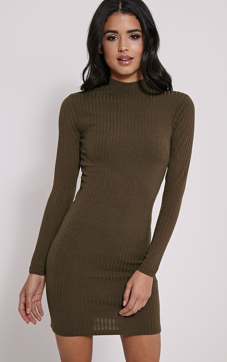 Melodie Khaki Ribbed Zip Back Dress 1