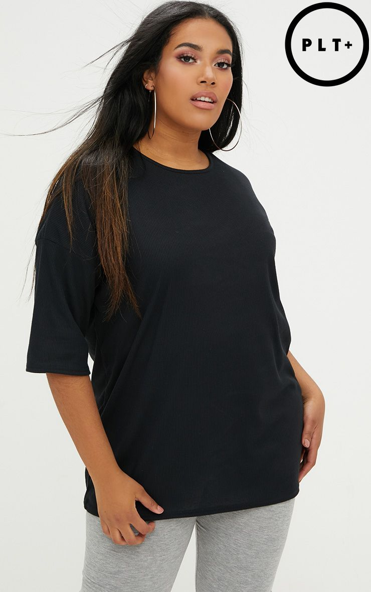 Plus Black Size Ribbed Oversized Tee