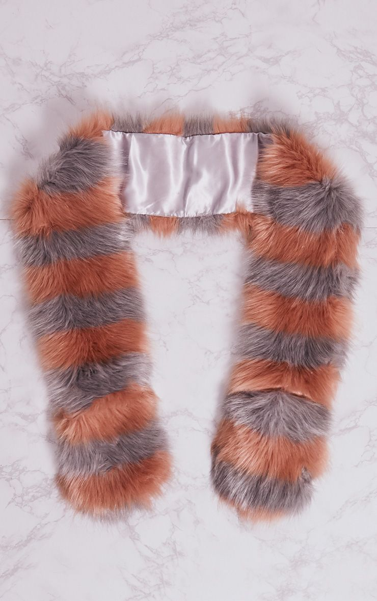 Grey and Peach Long Two Tone Faux Fur Scarf 3
