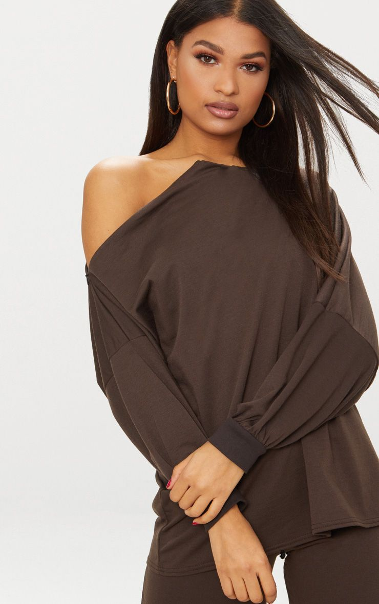 Brown Off The Shoulder Oversized Sweater