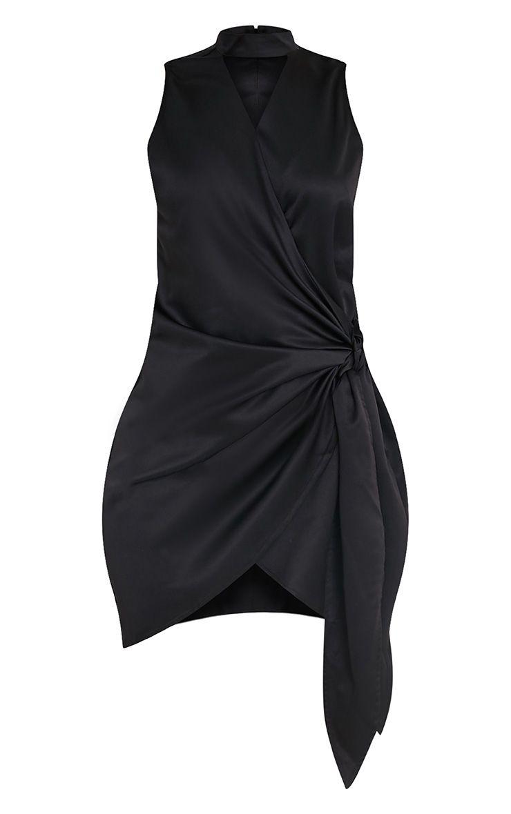 Rebecca robe noire en satin à nouer à la taille et ras du cou 3