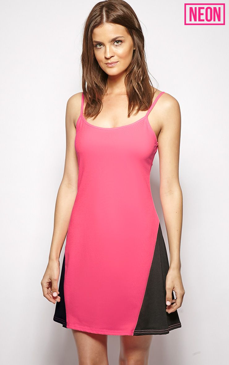 Kayla Pink Colour Block Swing Dress 1