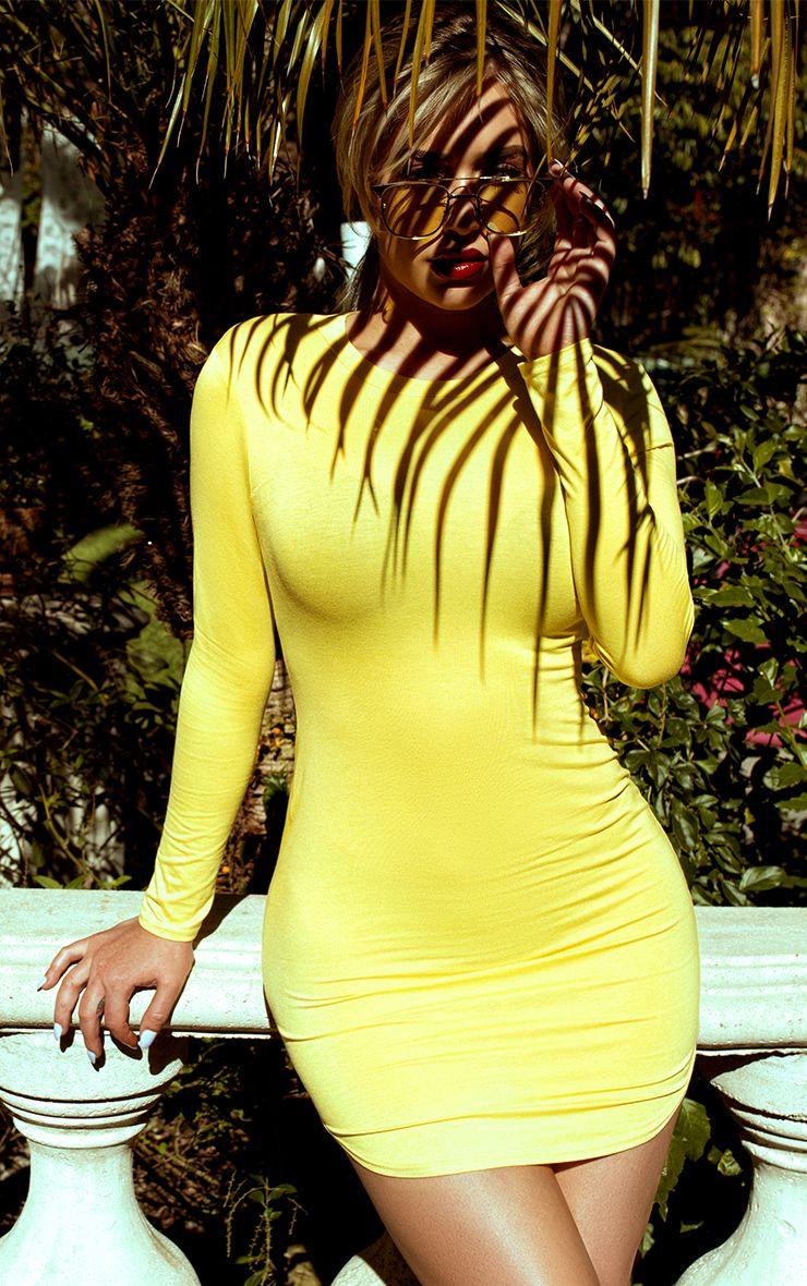 Shape Dionne Yellow Jersey Curve Hem Mini Dress