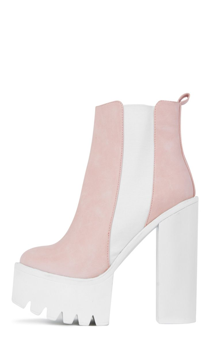 Pink Chunky Cleated Sole Chelsea Boot 1