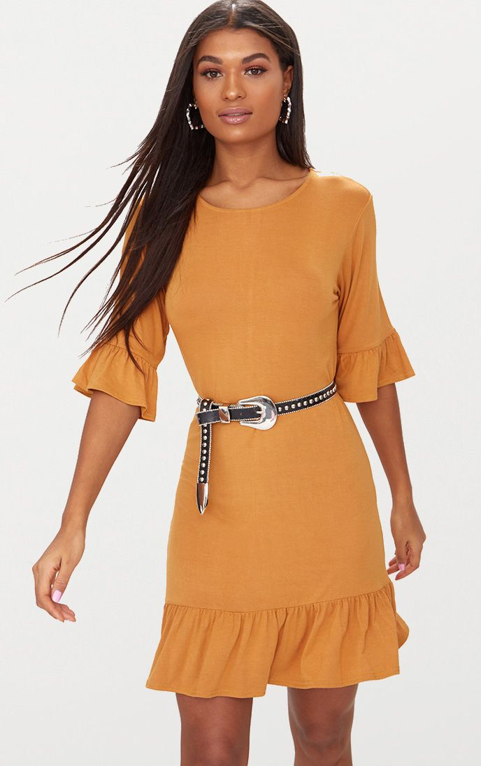 Mustard Jersey Frill Hem Shift Dress