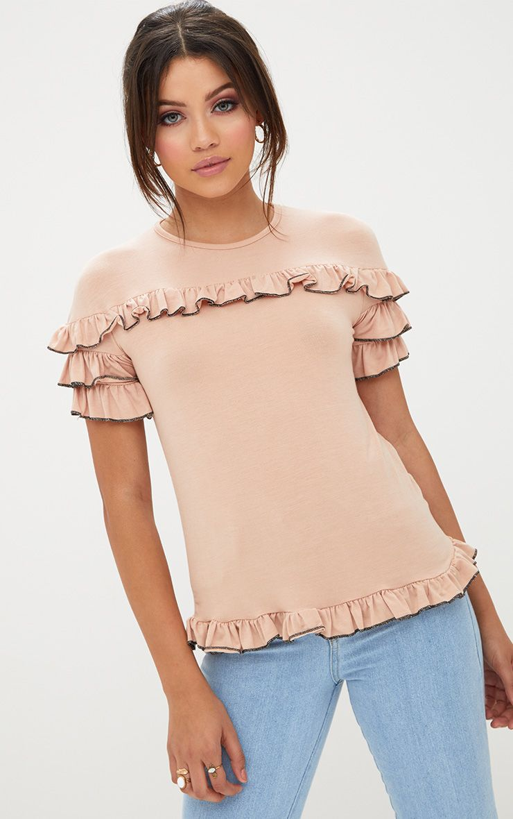 Nude Frill Contrast Edge T Shirt