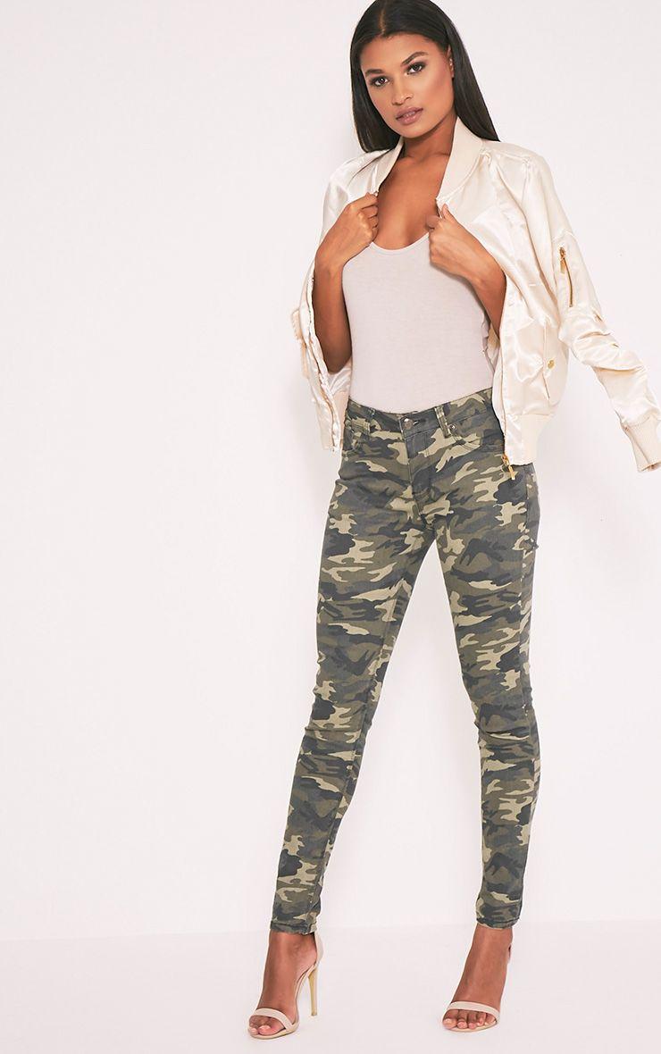 Frieda Camo Mid Rise Skinny Jean 1