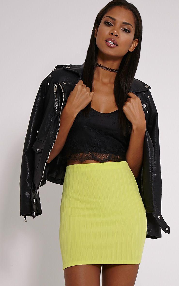 Martina Lime Ribbed Mini Skirt 1
