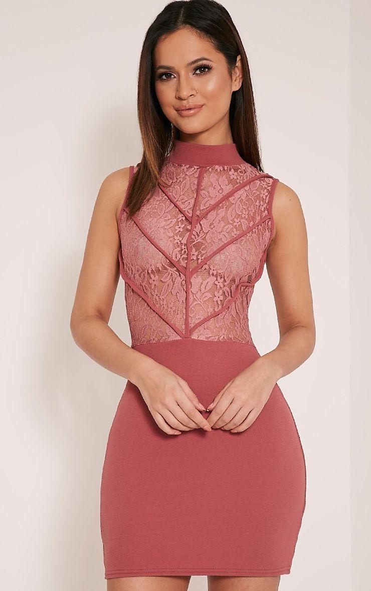 Vivian Rose High Neck Lace Detail Bodycon Dress 1