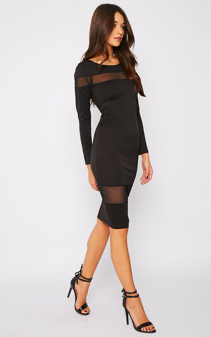 Justina Black Mesh Insert Bodycon Midi Dress 1