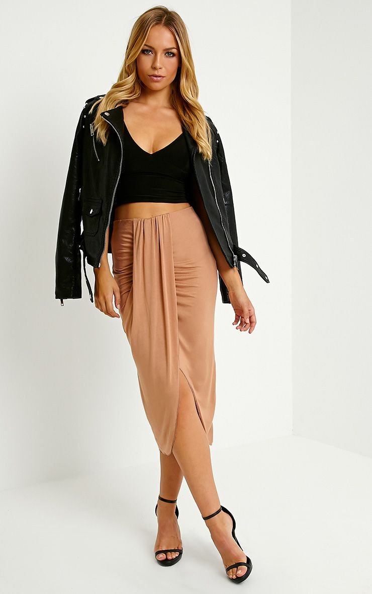 Ivana Camel Drape Midi Skirt 1