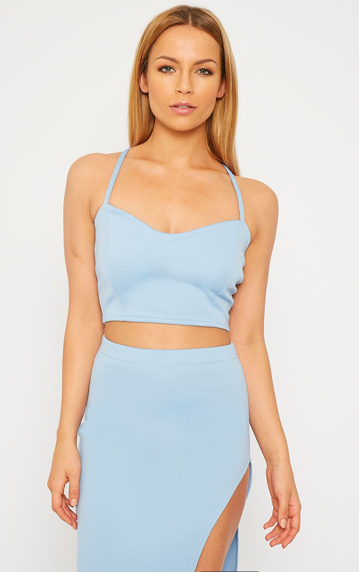 Savina Blue Cross Back Strap Crop Top 1