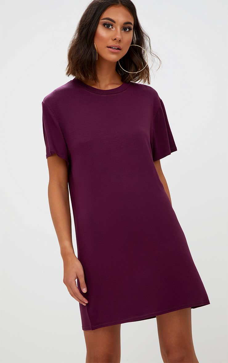Basic Aubergine Short Sleeve T-Shirt Dress
