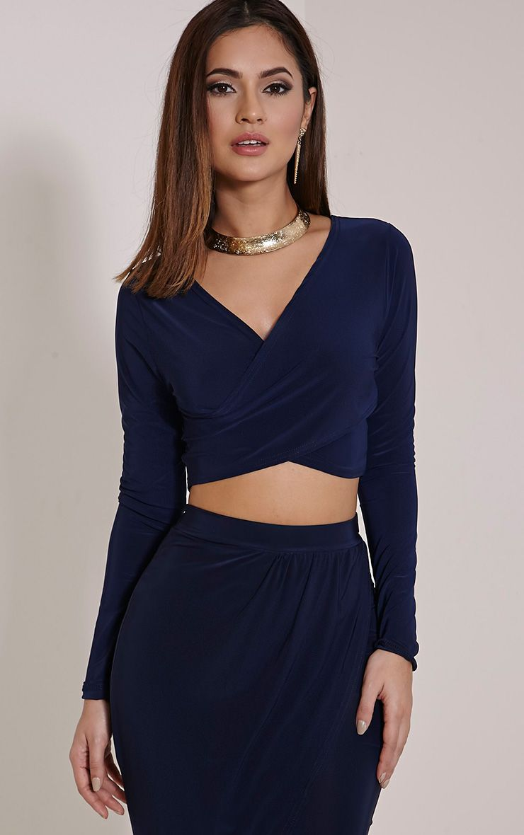 Ginevia Navy Wrap Front Slinky Crop Top  1