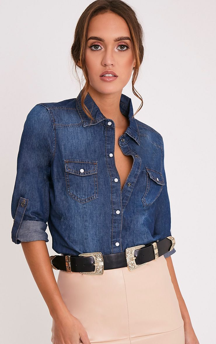 Braelynne Mid Wash Denim Feel Shirt