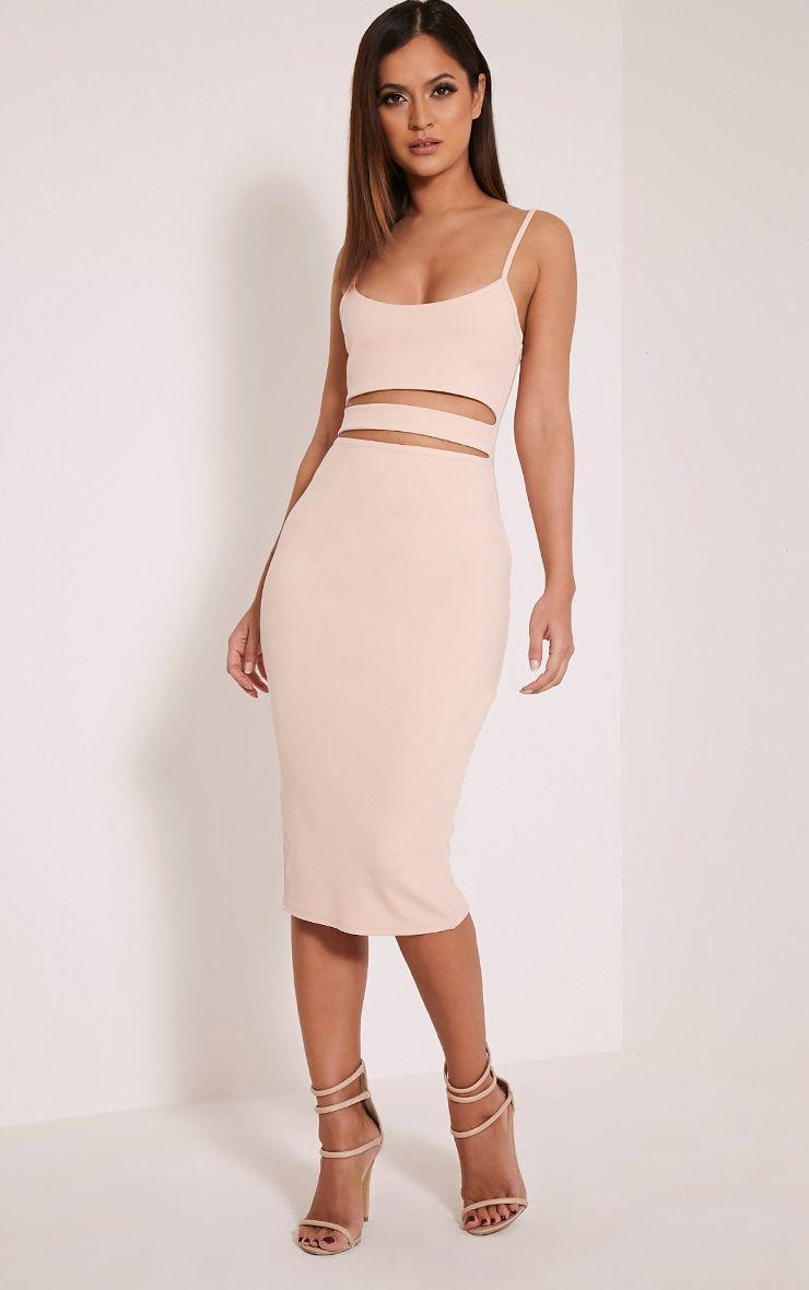Kheelie Nude Cut Out Midi Dress