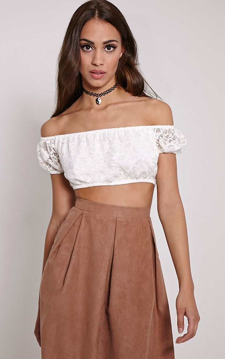 Nova Cream Lace Bardot Crop Top 1