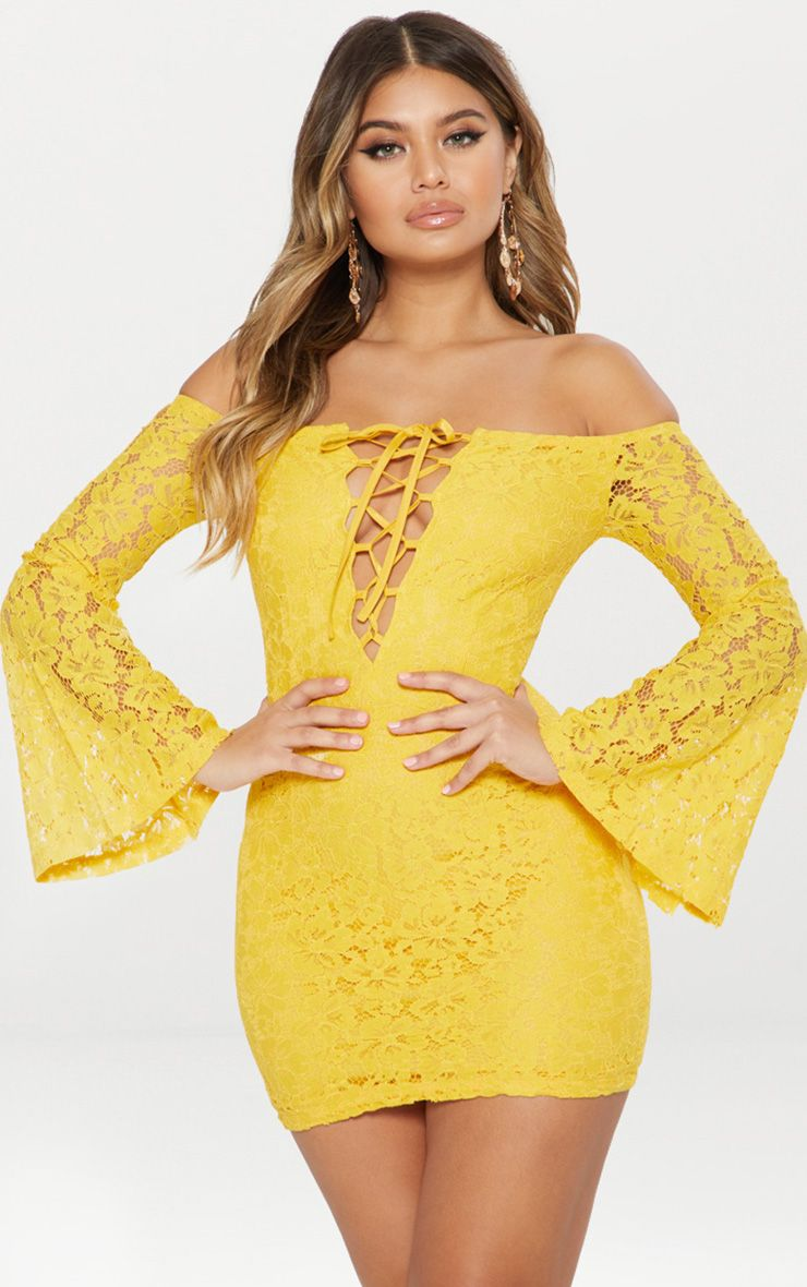 Yellow Lace Bardot Flare Sleeve Bodycon Dress