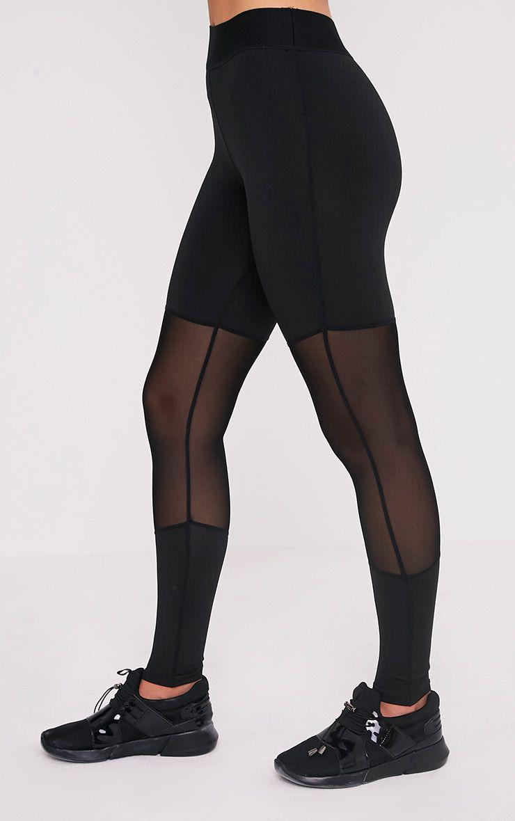 Leona Black Mesh Panelled Gym Leggings 4