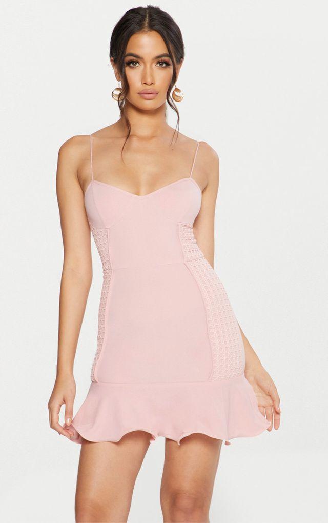 Pink oriental jacquard bodycon dress jeans eddie