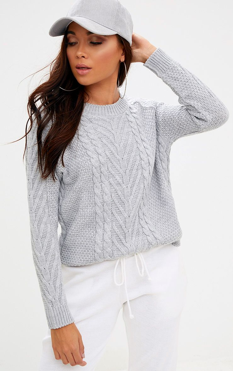 Grey Cable Knit Jumper 1