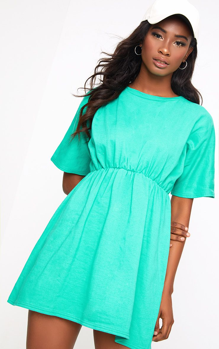 Green Loop Back Waist Detail Sweater Dress