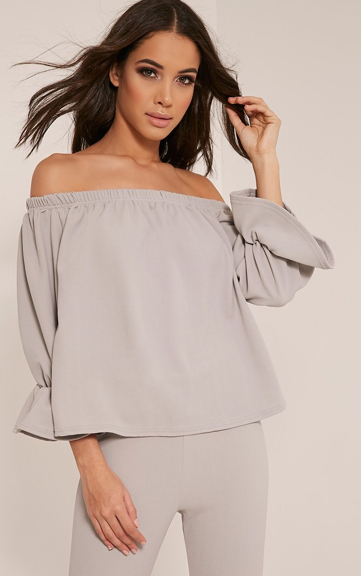 Evalyn Grey Bardot Frill Sleeve Top