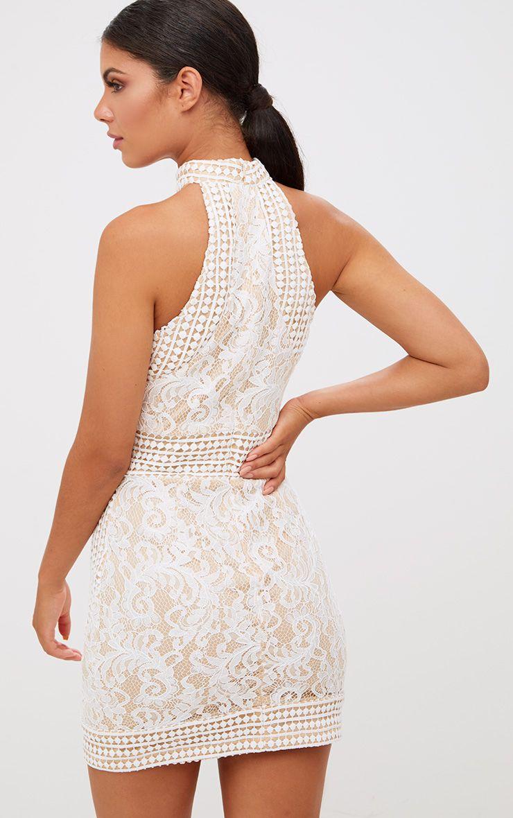 White High Neck Lace Crochet Bodycon Dress Dresses