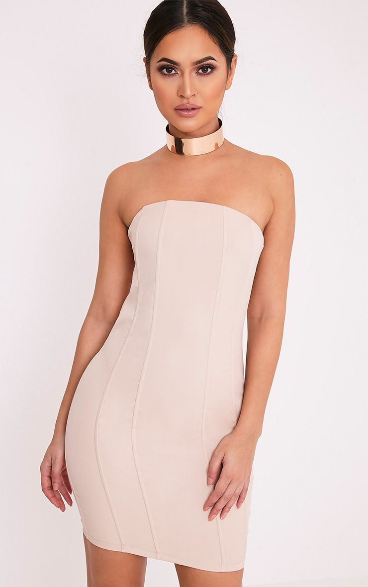 Kimberley Nude Boned Bandeau Bodycon Dress