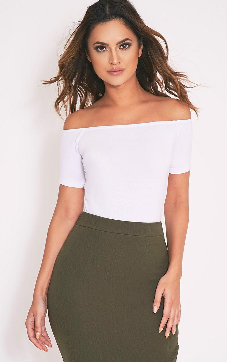 Basic White Short Sleeve Bardot Thong Bodysuit