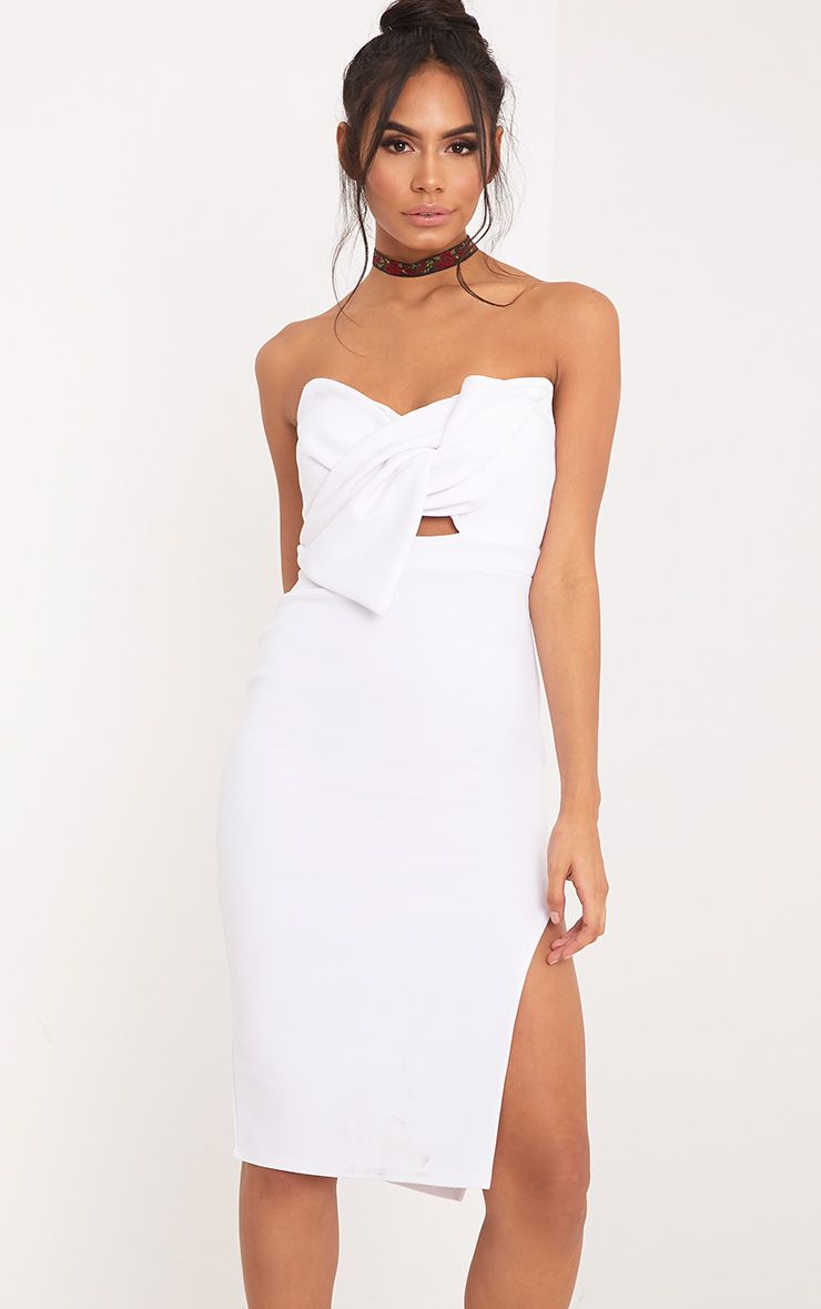 Elisse White Bow Detail Scuba Midi Dress