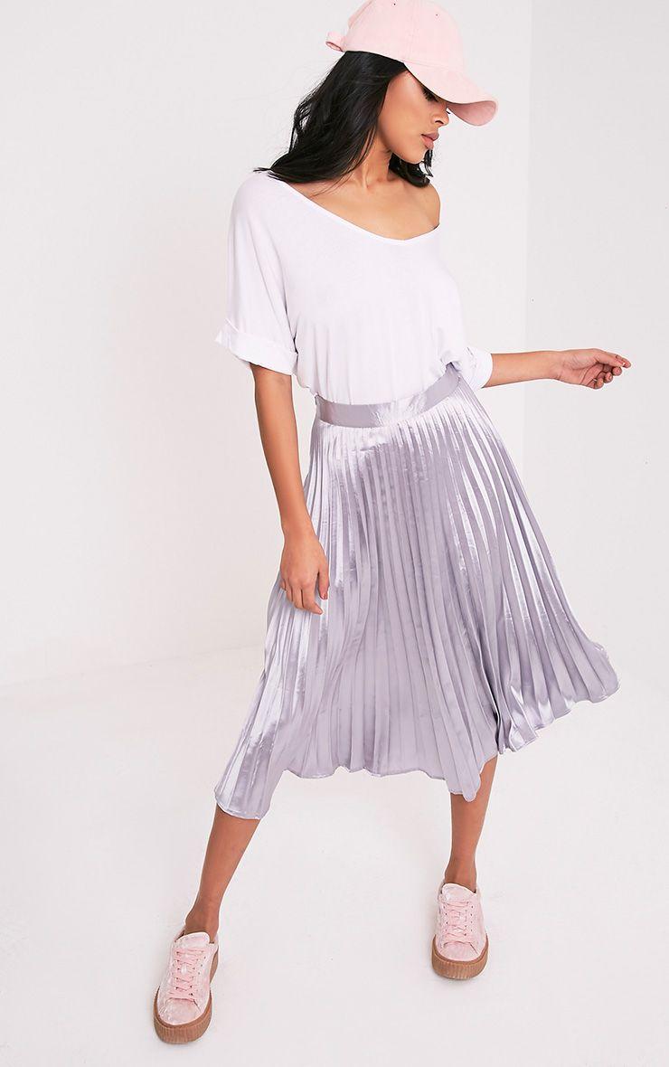 Harmonia Grey Satin Pleated Midi Skirt