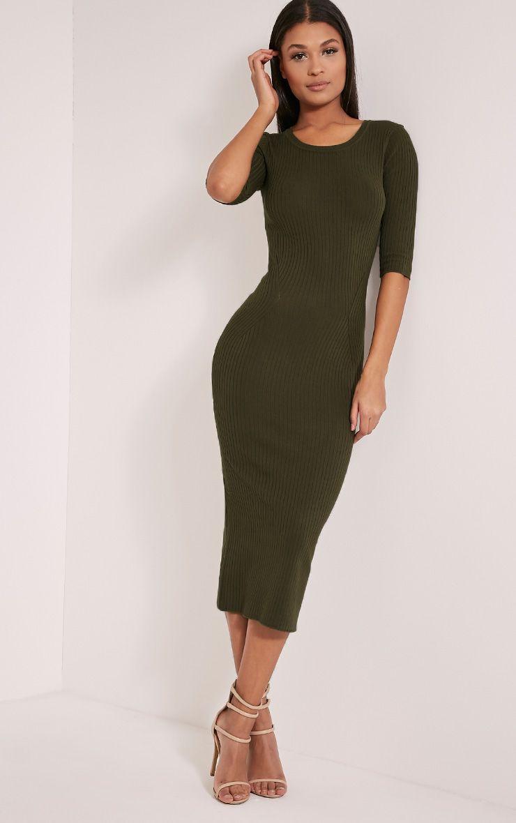 Ailia Khaki Knitted Midi Dress 1