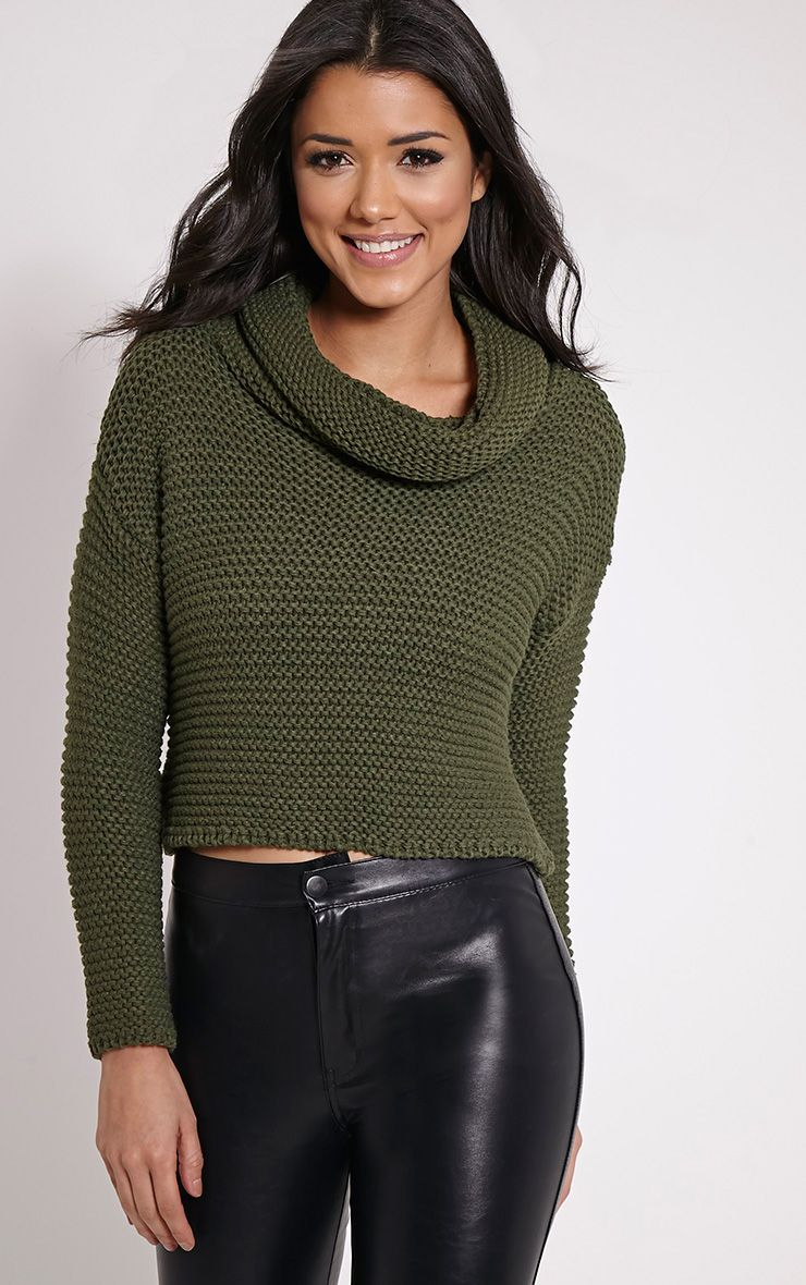 Resi Khaki Roll Neck Crop Jumper 1