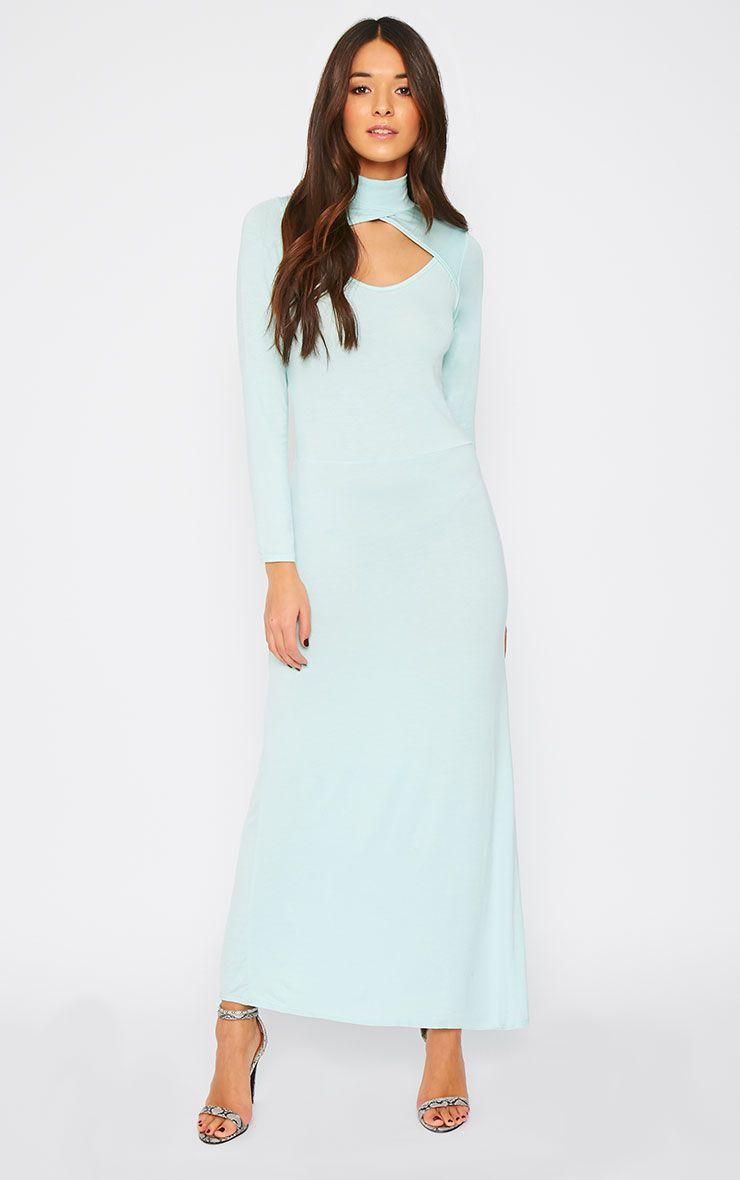 Saskia Mint Long Sleeve Cut Out Maxi Dress 1