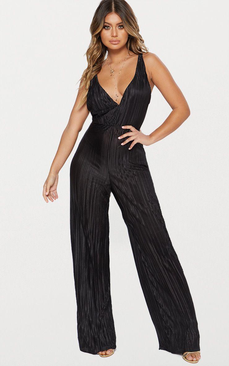 Black Plisse Plunge Strappy Jumpsuit