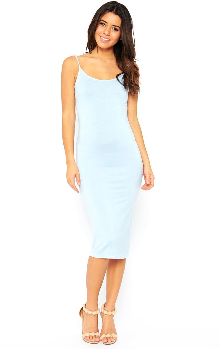 Basic Powder Blue Midi Vest Dress 1