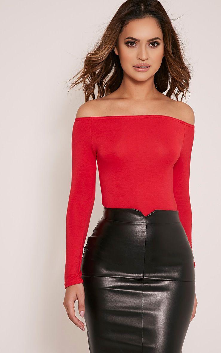 Red Bardot Bodysuit