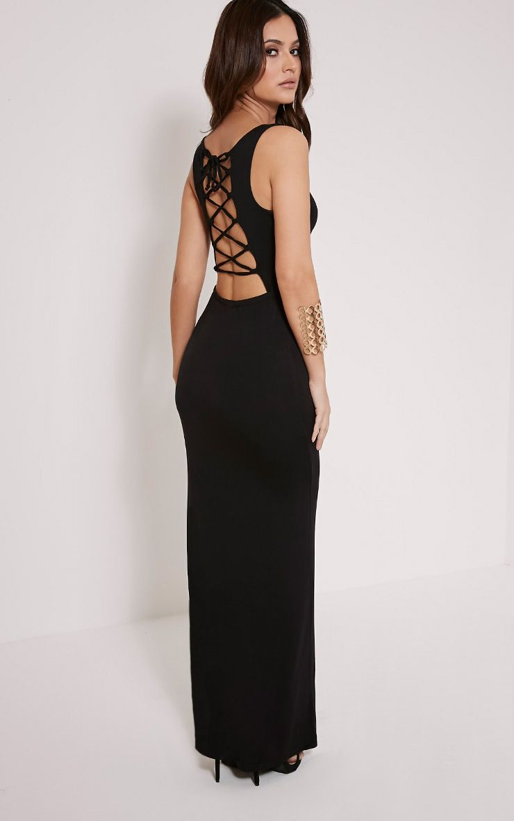 Jamaia Black Lace Up Back Maxi Dress 1