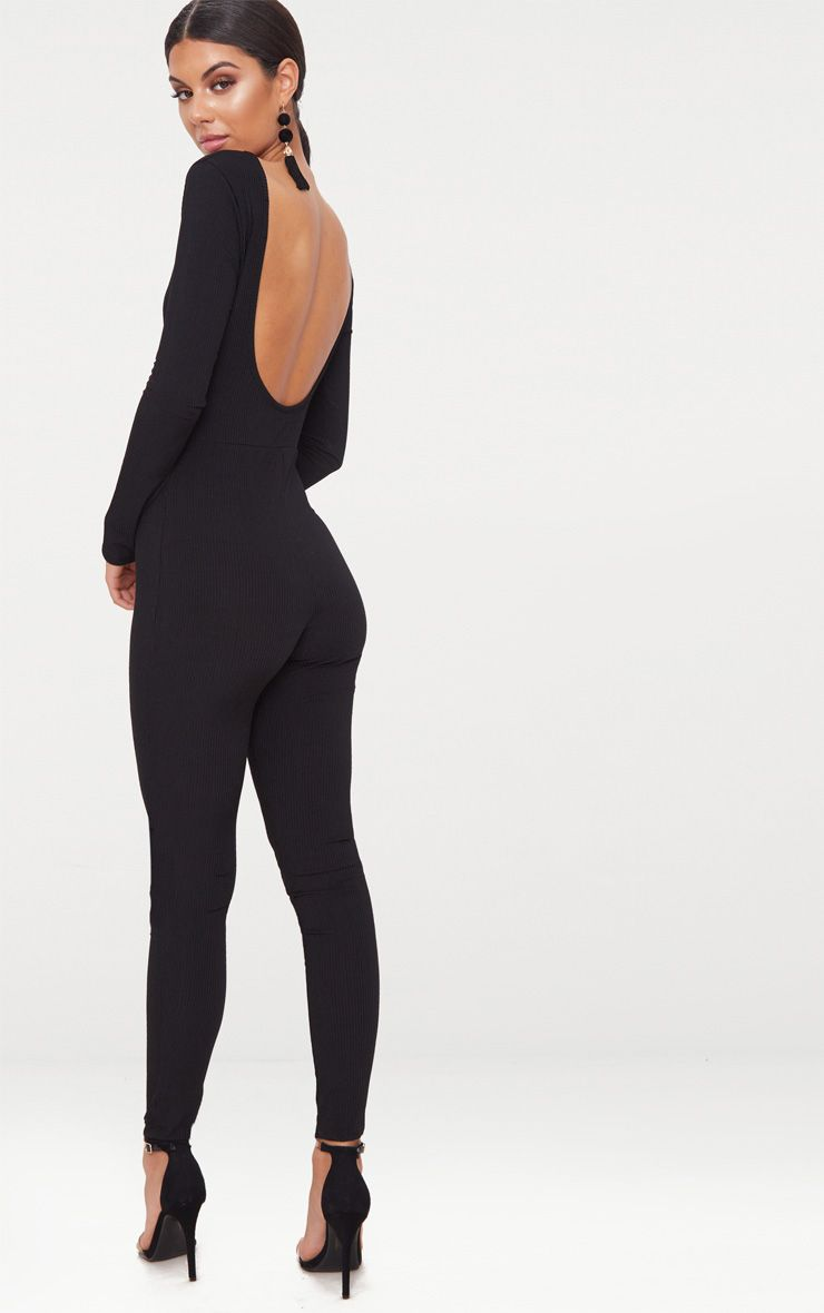 Black Ribbed Long Sleeve Scoop Back Jumpsuit