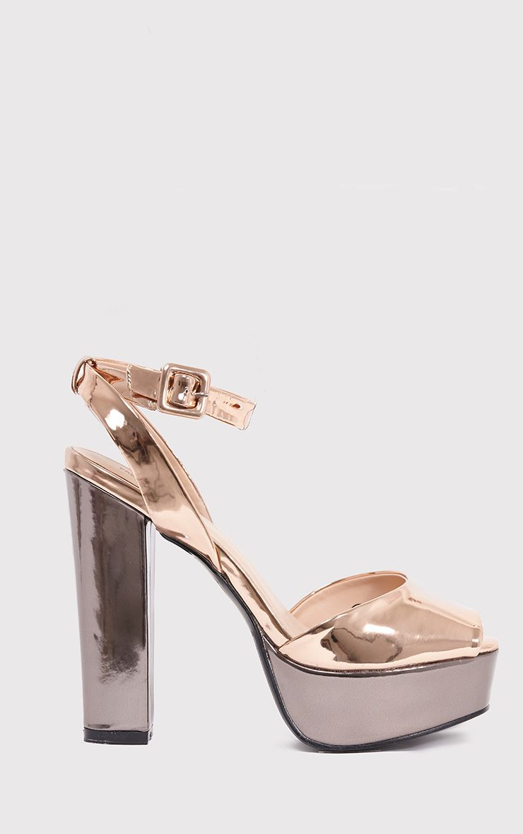 Dianne Rose Gold Metallic Platform Heels 1