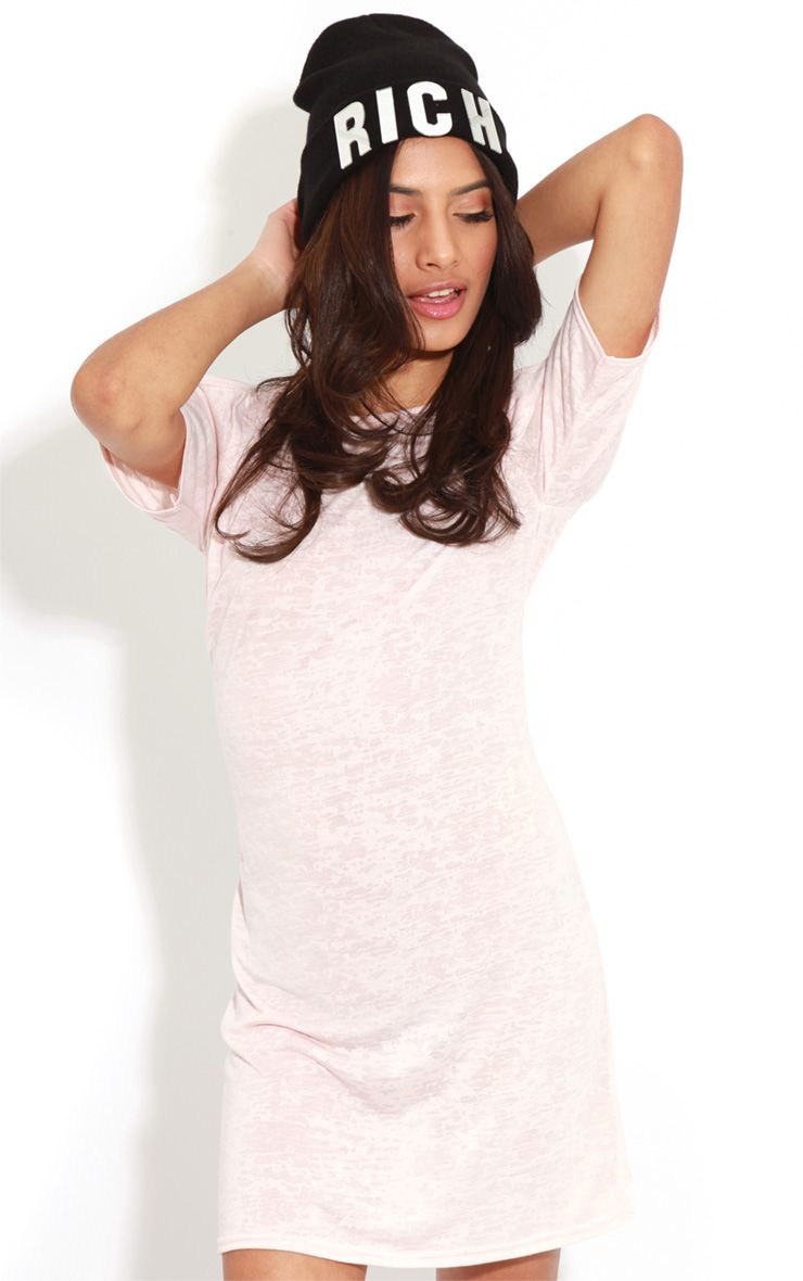 Gena Pink Burnout Cut Out Shoulder Dress 1