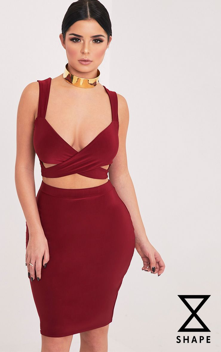 Shape Sareena Burgundy Wrap Back Crop Top