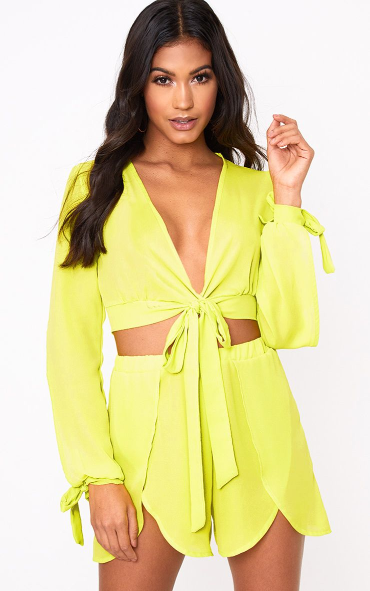 Lime Sheer Woven Open Sleeve Tie Front Top